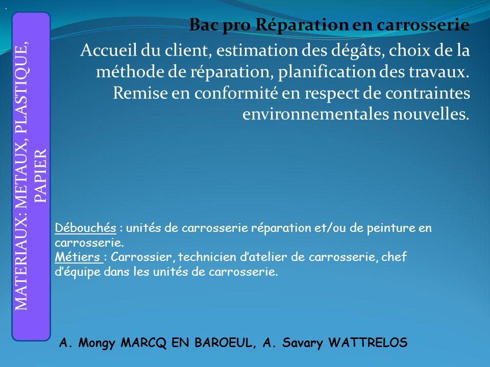 Bac pro Réparation en carrosserie Accueil du client, estimation des dégâts, choix de la méthode de réparation, planification des travaux.