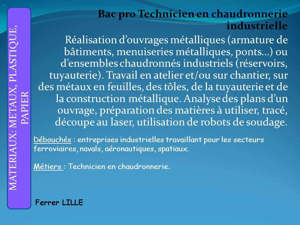 Bac pro Technicien en chaudronnerie industrielle Réalisation douvrages métalliques (armature de bâtiments, menuiseries métalliques, ponts…) ou densembles chaudronnés industriels (réservoirs, tuyauterie).