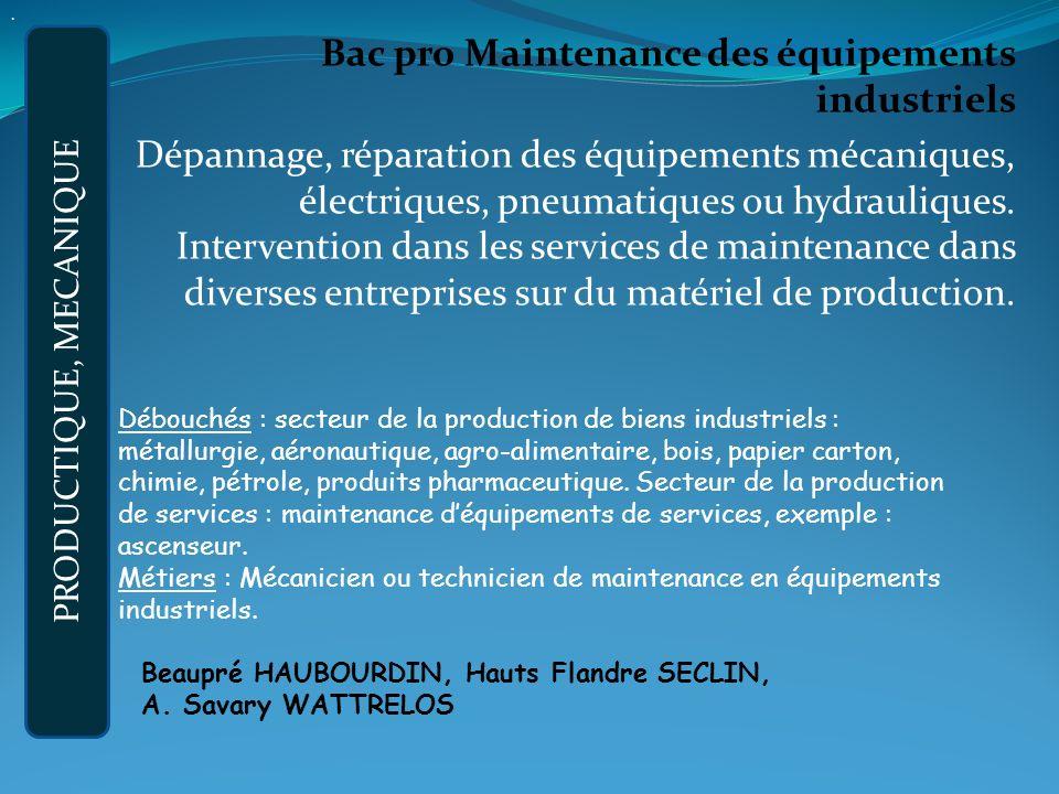 Bac pro Maintenance des équipements industriels Dépannage, réparation des équipements mécaniques, électriques, pneumatiques ou hydrauliques.