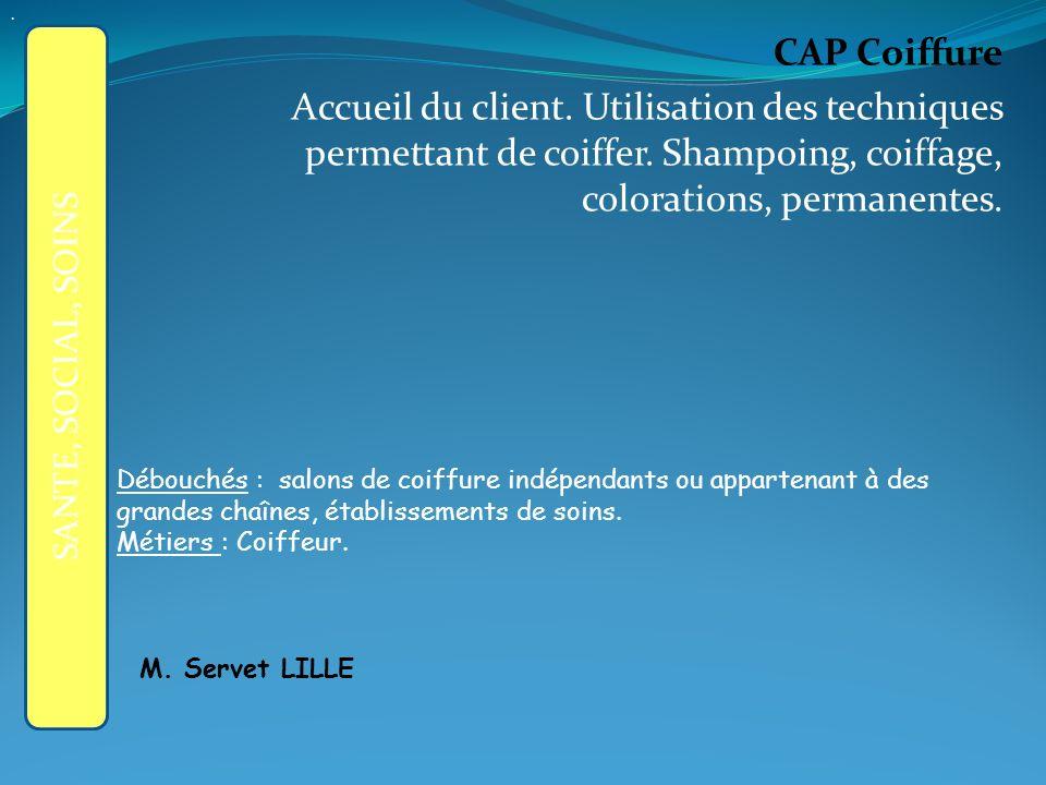 CAP Coiffure Accueil du client.Utilisation des techniques permettant de coiffer.