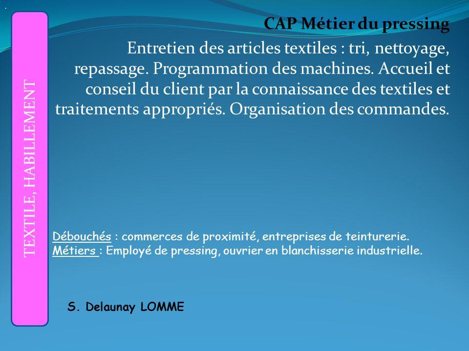 CAP Métier du pressing Entretien des articles textiles : tri, nettoyage, repassage.