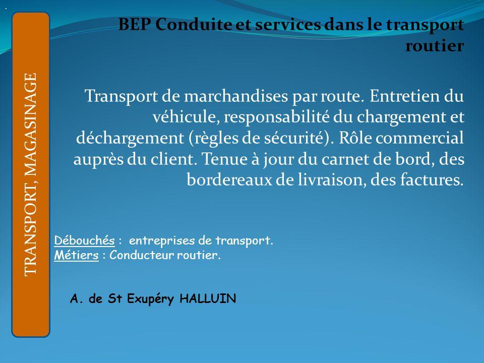 BEP Conduite et services dans le transport routier Transport de marchandises par route.