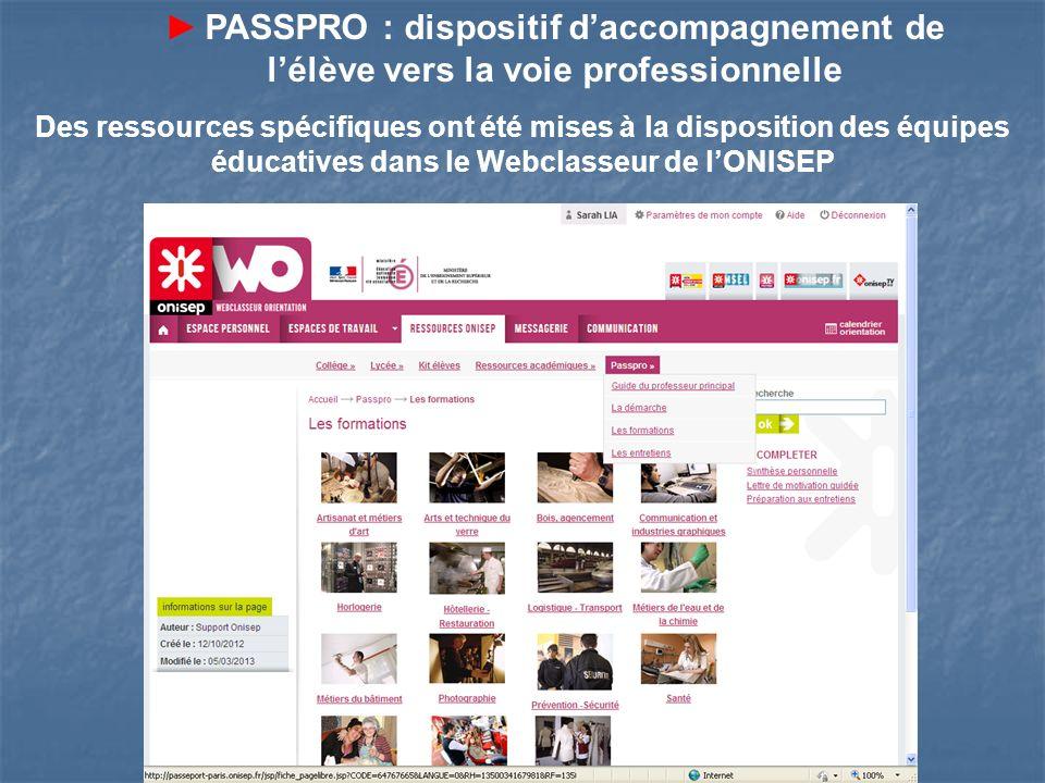 Des ressources spécifiques ont été mises à la disposition des équipes éducatives dans le Webclasseur de lONISEP PASSPRO : dispositif daccompagnement d