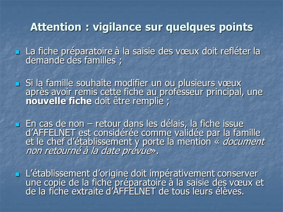 Attention : vigilance sur quelques points La fiche préparatoire à la saisie des vœux doit refléter la demande des familles ; La fiche préparatoire à l