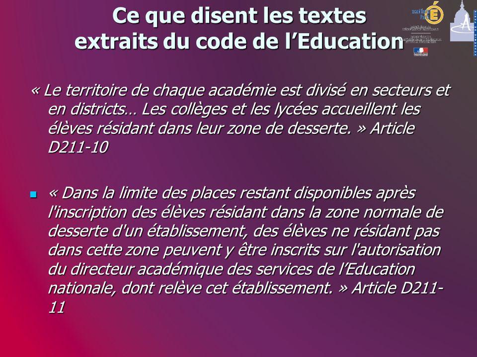 Ce que disent les textes extraits du code de lEducation « Le territoire de chaque académie est divisé en secteurs et en districts… Les collèges et les