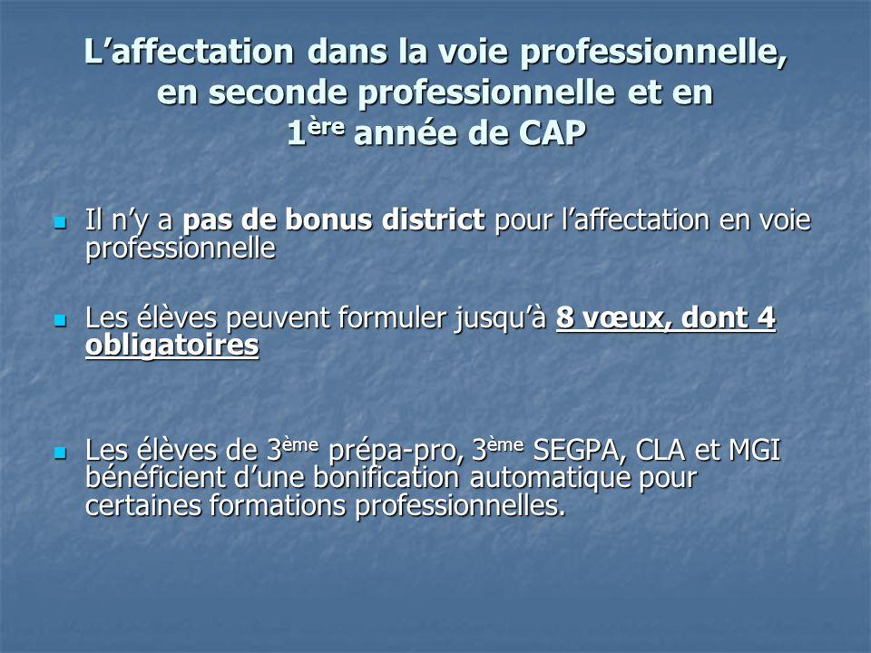 Laffectation dans la voie professionnelle, en seconde professionnelle et en 1 ère année de CAP Il ny a pas de bonus district pour laffectation en voie