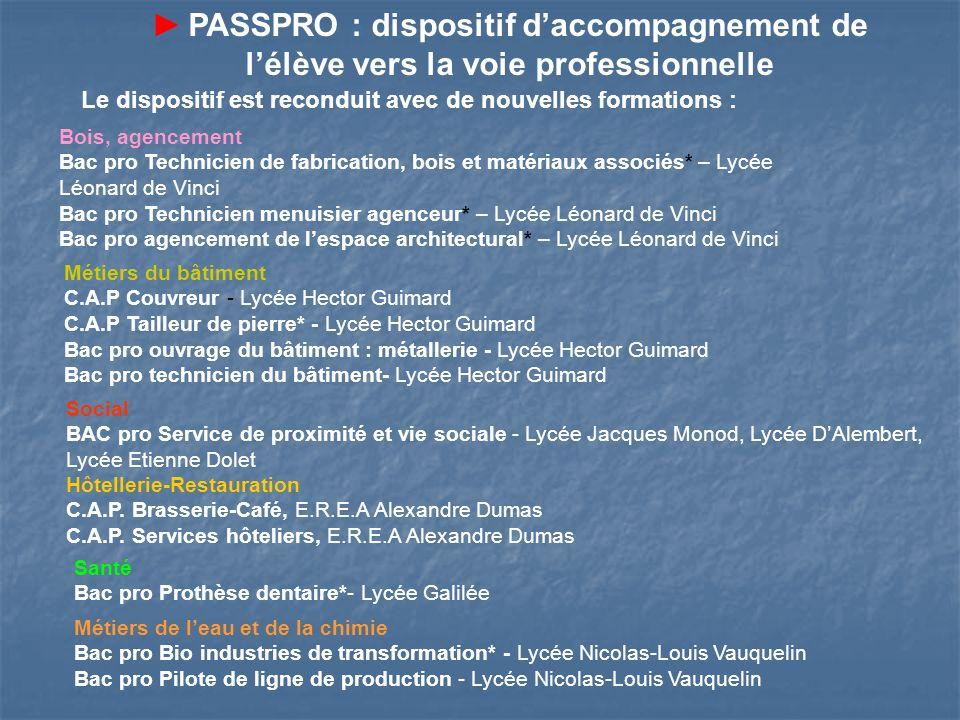 Des ressources spécifiques ont été mises à la disposition des équipes éducatives dans le Webclasseur de lONISEP PASSPRO : dispositif daccompagnement de lélève vers la voie professionnelle