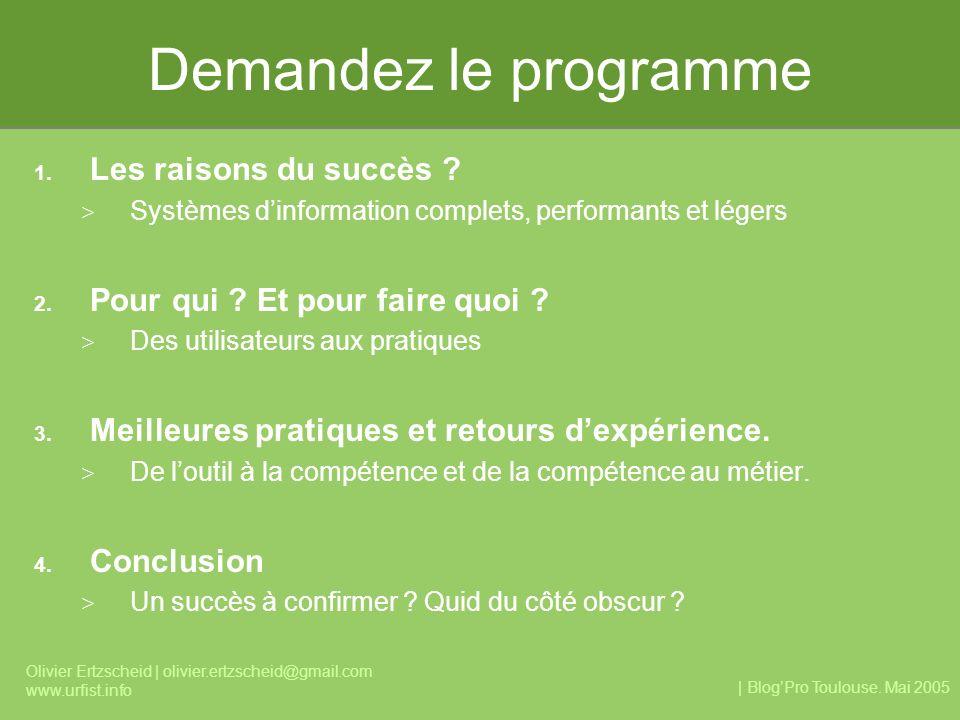| BlogPro Toulouse. Mai 2005 Olivier Ertzscheid | olivier.ertzscheid@gmail.com www.urfist.info Demandez le programme 1. Les raisons du succès ? > Syst