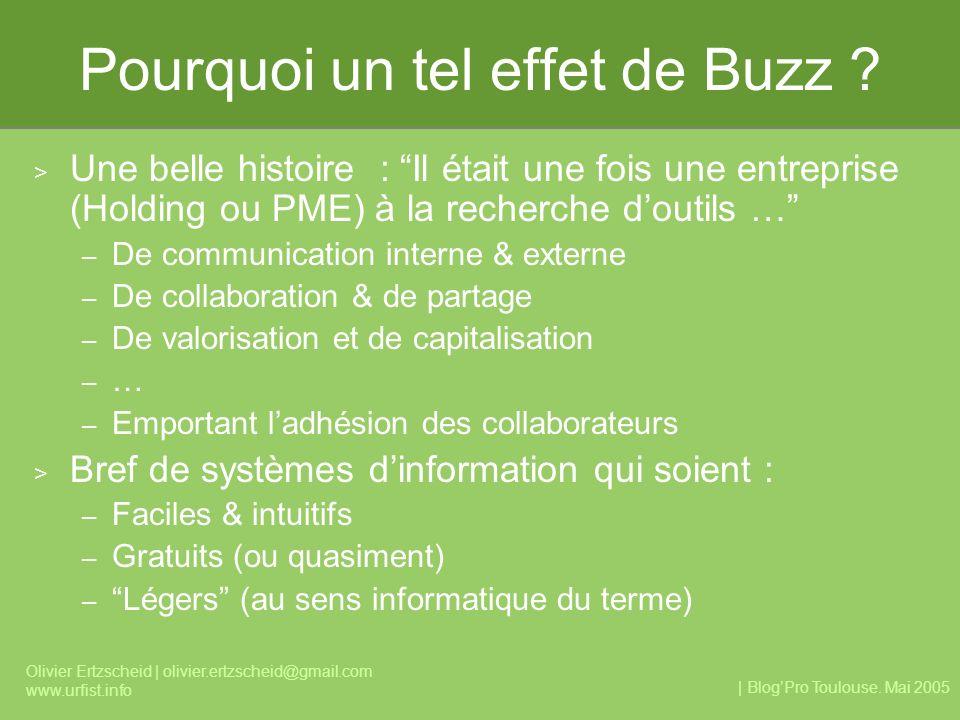 | BlogPro Toulouse. Mai 2005 Olivier Ertzscheid | olivier.ertzscheid@gmail.com www.urfist.info Pourquoi un tel effet de Buzz ? > Une belle histoire :
