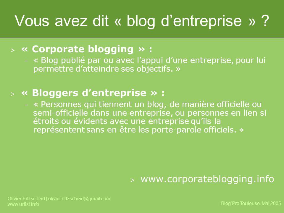 | BlogPro Toulouse. Mai 2005 Olivier Ertzscheid | olivier.ertzscheid@gmail.com www.urfist.info Vous avez dit « blog dentreprise » ? > « Corporate blog