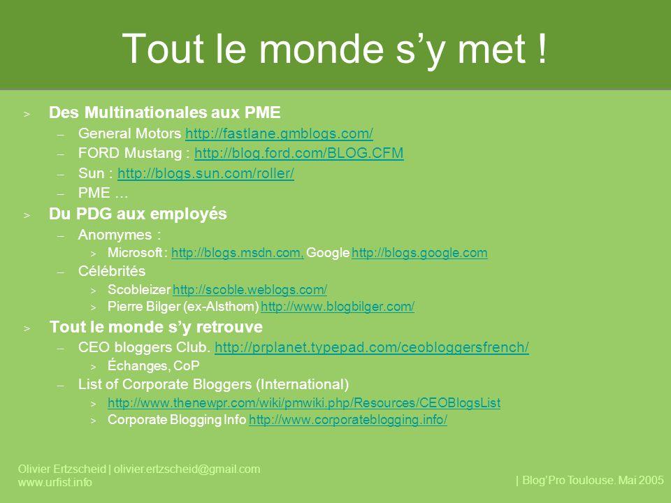 | BlogPro Toulouse. Mai 2005 Olivier Ertzscheid | olivier.ertzscheid@gmail.com www.urfist.info Tout le monde sy met ! > Des Multinationales aux PME –