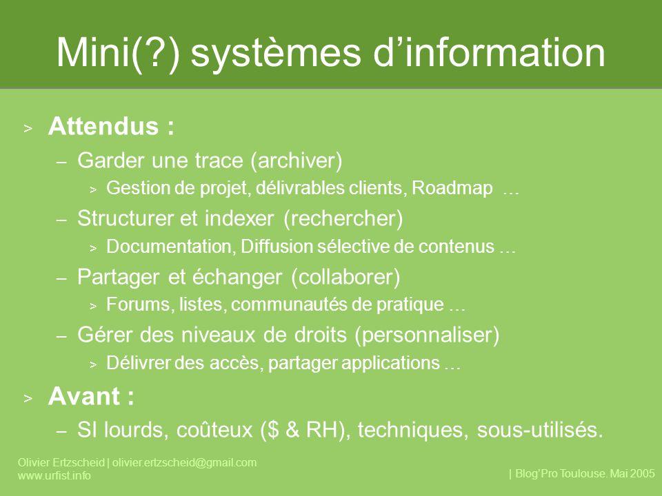 | BlogPro Toulouse. Mai 2005 Olivier Ertzscheid | olivier.ertzscheid@gmail.com www.urfist.info Mini(?) systèmes dinformation > Attendus : – Garder une