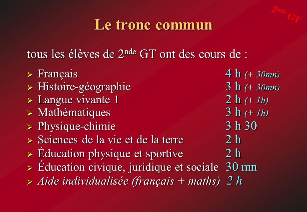 Le tronc commun tous les élèves de 2 nde GT ont des cours de : Français 4 h (+ 30mn) Français 4 h (+ 30mn) Histoire-géographie 3 h (+ 30mn) Histoire-g
