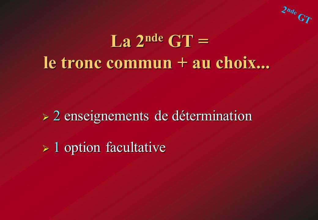 La 2 nde GT = le tronc commun + au choix... La 2 nde GT = le tronc commun + au choix... 2 enseignements de détermination 2 enseignements de déterminat
