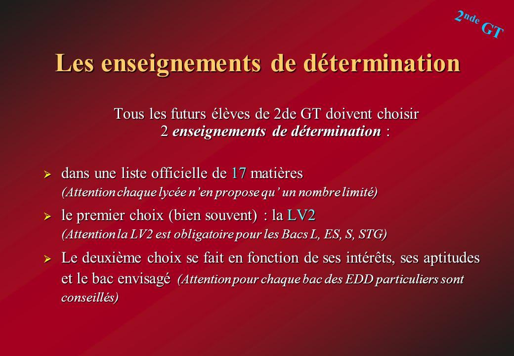 Les enseignements de détermination Tous les futurs élèves de 2de GT doivent choisir 2 enseignements de détermination : dans une liste officielle de 17