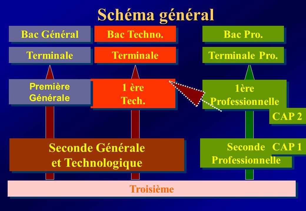 Schéma général Seconde Professionnelle 1ère Professionnelle Terminale Pro. 1 ère Tech. 1 ère Tech. Terminale Troisième Seconde Générale et Technologiq
