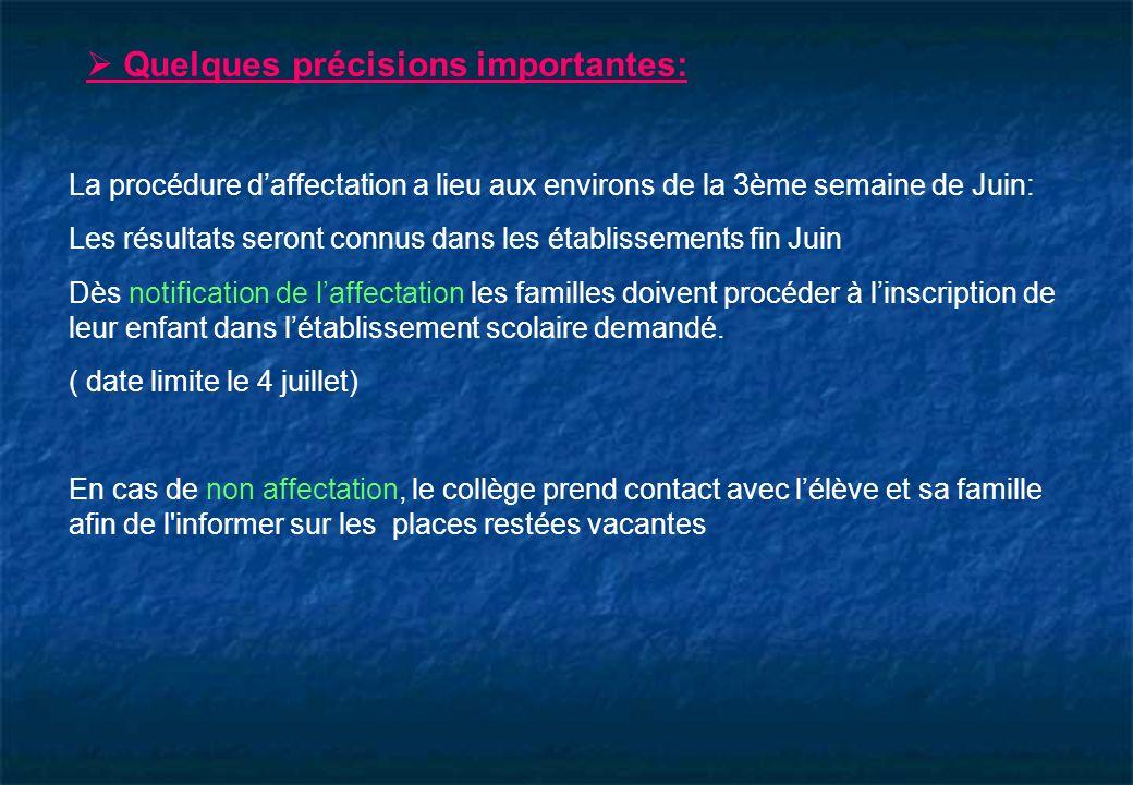 La procédure daffectation a lieu aux environs de la 3ème semaine de Juin: Les résultats seront connus dans les établissements fin Juin Dès notificatio