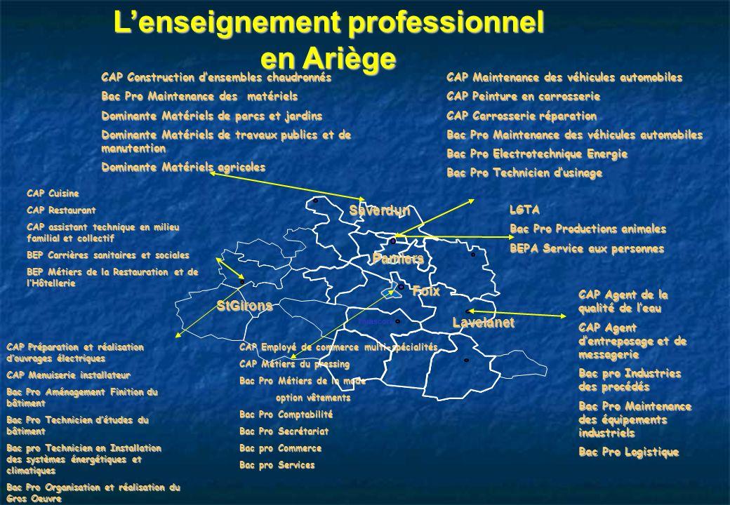 Lenseignement professionnel en Ariège CAP Agent de la qualité de leau CAP Agent dentreposage et de messagerie Bac pro Industries des procédés Bac Pro