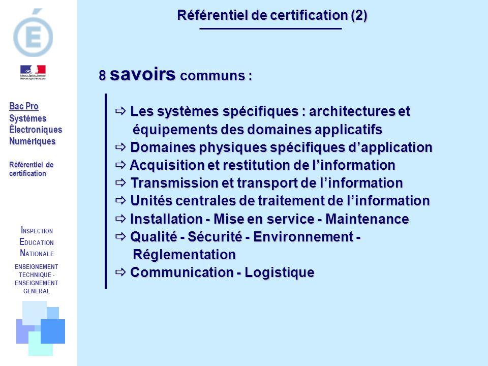 I NSPECTION E DUCATION N ATIONALE ENSEIGNEMENT TECHNIQUE - ENSEIGNEMENT GENERAL Référentiel de certification (2) 8 savoirs communs : Les systèmes spéc