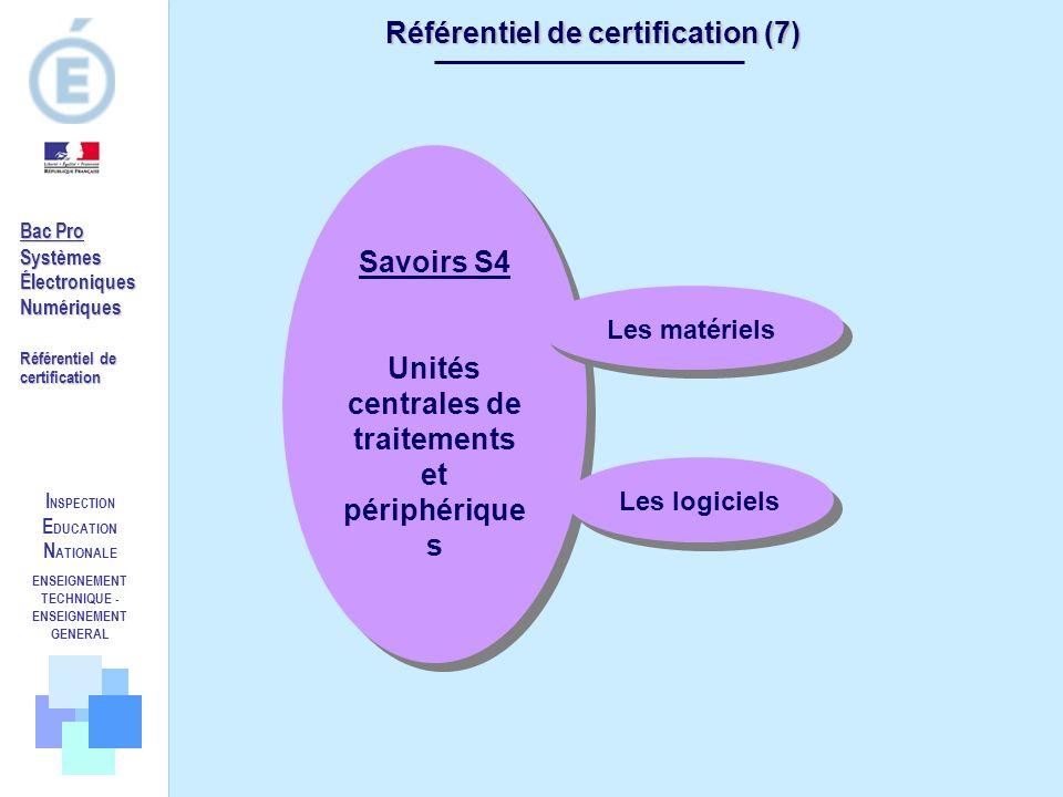 I NSPECTION E DUCATION N ATIONALE ENSEIGNEMENT TECHNIQUE - ENSEIGNEMENT GENERAL Référentiel de certification (7) Savoirs S4 Unités centrales de traite
