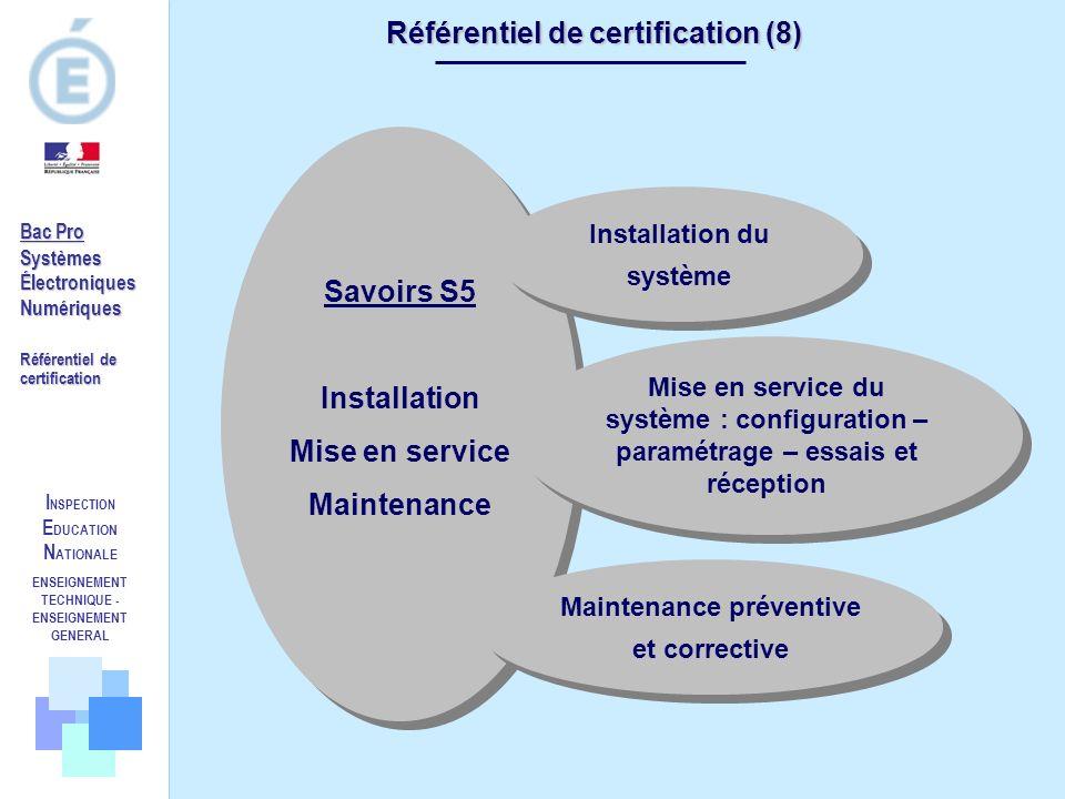I NSPECTION E DUCATION N ATIONALE ENSEIGNEMENT TECHNIQUE - ENSEIGNEMENT GENERAL Référentiel de certification (8) Savoirs S5 Installation Mise en servi