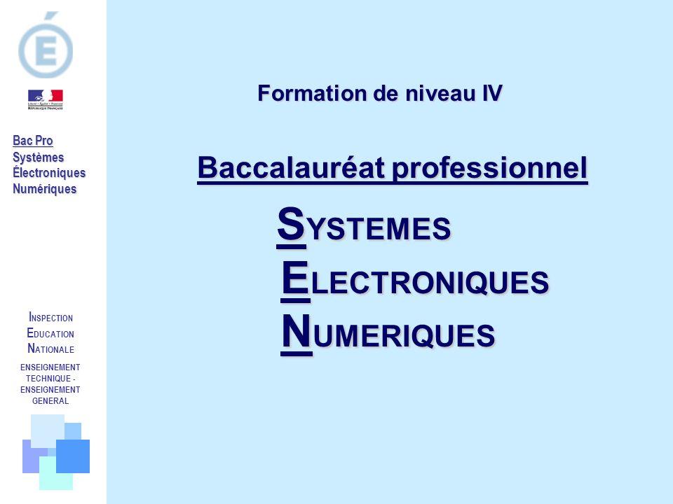 I NSPECTION E DUCATION N ATIONALE ENSEIGNEMENT TECHNIQUE - ENSEIGNEMENT GENERAL Bac Pro SystèmesÉlectroniquesNumériques Formation de niveau IV Baccala