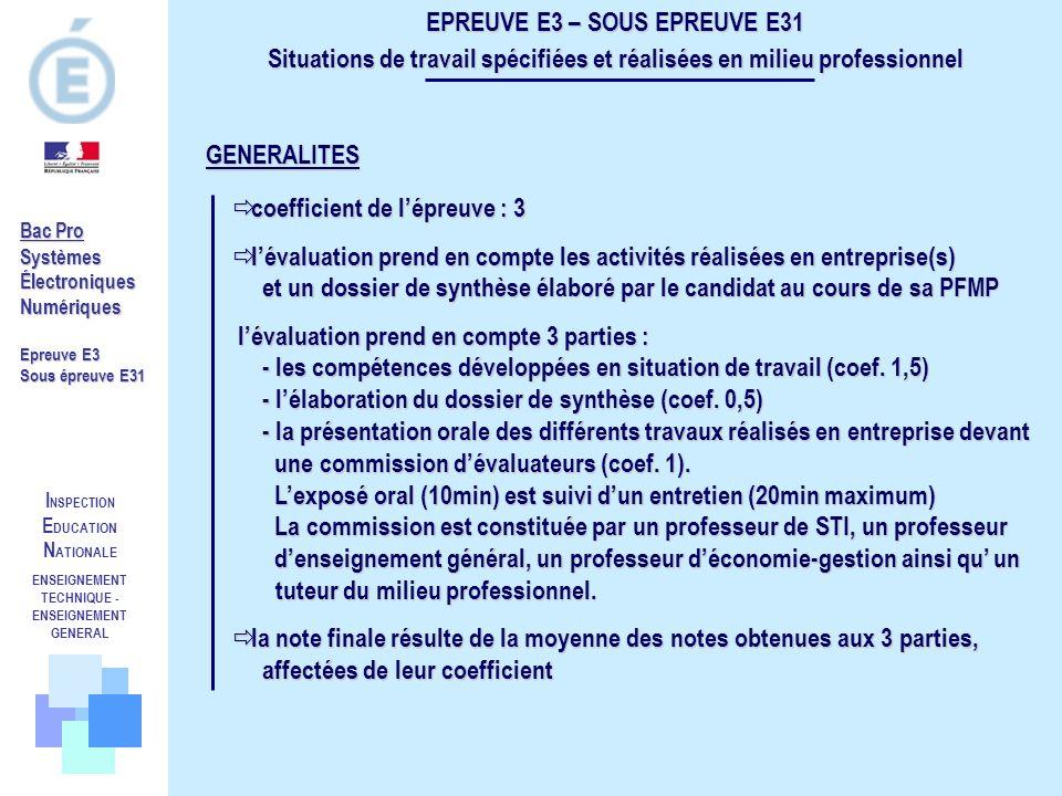 I NSPECTION E DUCATION N ATIONALE ENSEIGNEMENT TECHNIQUE - ENSEIGNEMENT GENERAL Bac Pro SystèmesÉlectroniquesNumériques Epreuve E3 Sous épreuve E31 EP