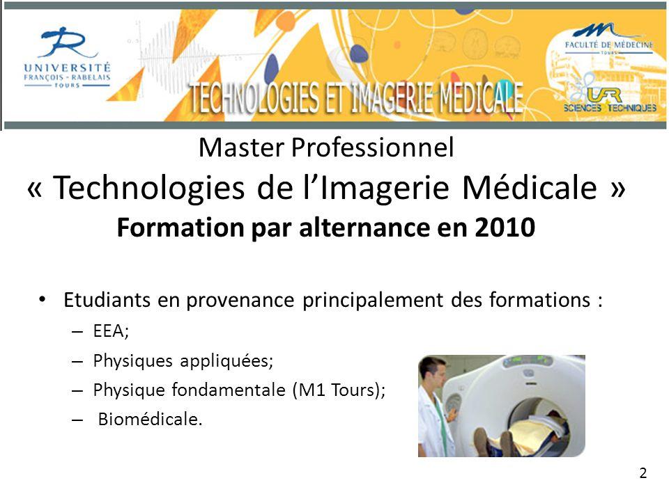 Master Professionnel « Technologies de lImagerie Médicale » Formation par alternance en 2010 Etudiants en provenance principalement des formations : – EEA; – Physiques appliquées; – Physique fondamentale (M1 Tours); – Biomédicale.