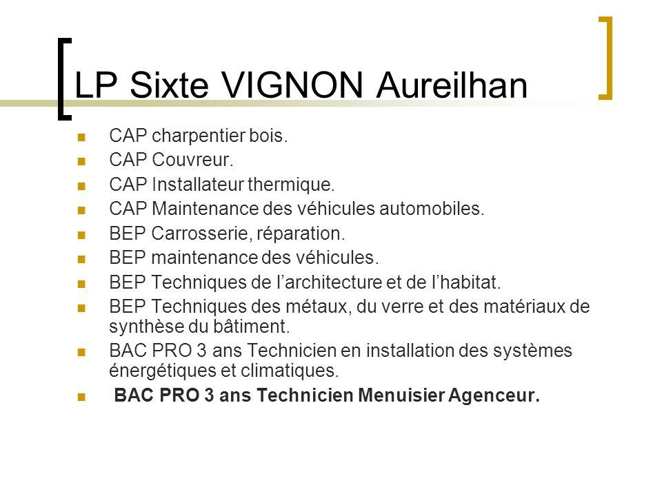 LP Sixte VIGNON Aureilhan CAP charpentier bois. CAP Couvreur. CAP Installateur thermique. CAP Maintenance des véhicules automobiles. BEP Carrosserie,