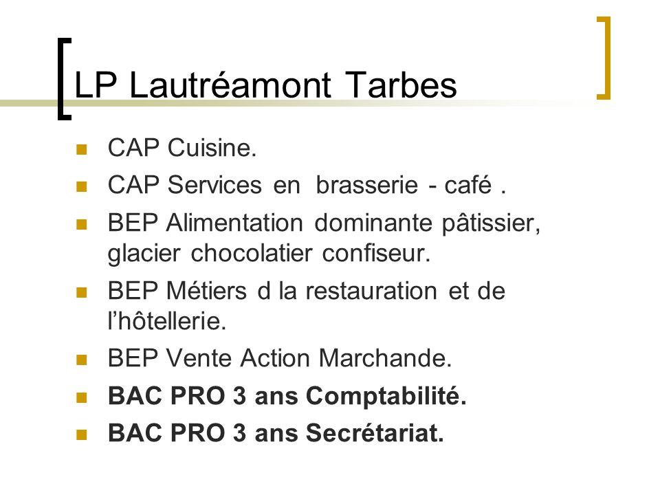 LP Lautréamont Tarbes CAP Cuisine. CAP Services en brasserie - café. BEP Alimentation dominante pâtissier, glacier chocolatier confiseur. BEP Métiers