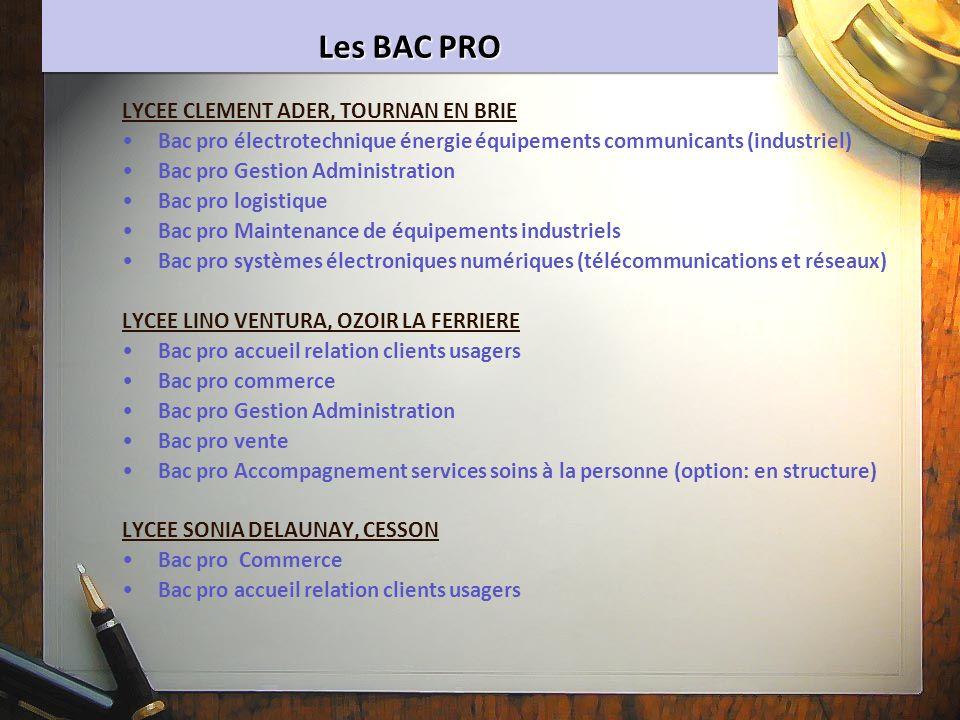 Les BAC PRO LYCEE CLEMENT ADER, TOURNAN EN BRIE Bac pro électrotechnique énergie équipements communicants (industriel) Bac pro Gestion Administration