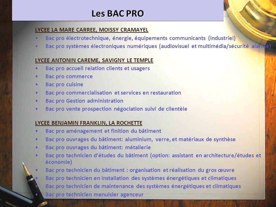 Les BAC PRO LYCEE LA MARE CARREE, MOISSY CRAMAYEL Bac pro électrotechnique, énergie, équipements communicants (industriel) Bac pro systèmes électroniq