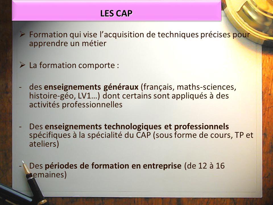 Formation qui vise lacquisition de techniques précises pour apprendre un métier La formation comporte : - -des enseignements généraux (français, maths