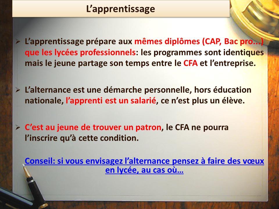 Lapprentissage Lapprentissage prépare aux mêmes diplômes (CAP, Bac pro...) que les lycées professionnels: les programmes sont identiques mais le jeune