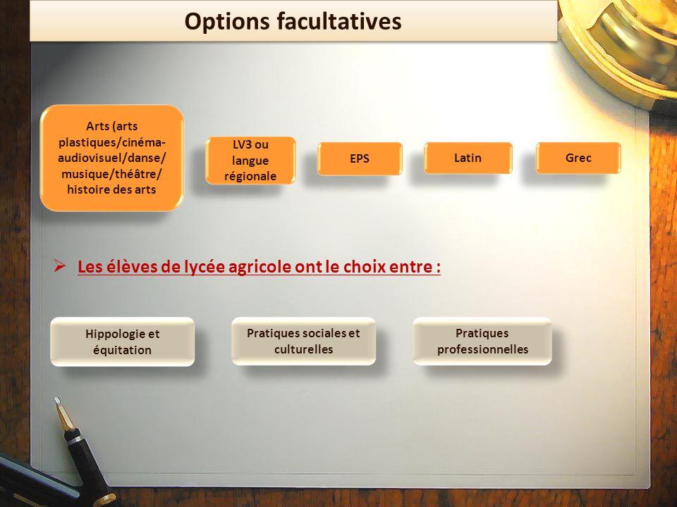 Options facultatives Les élèves de lycée agricole ont le choix entre : Latin Grec EPS Hippologie et équitation Arts (arts plastiques/cinéma- audiovisu