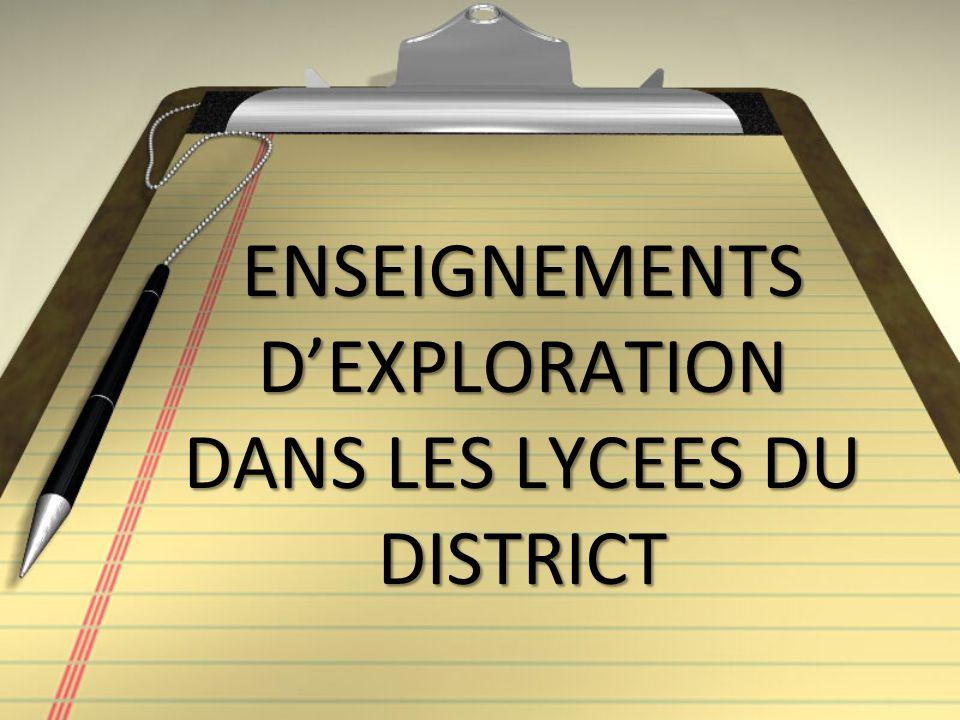 ENSEIGNEMENTS DEXPLORATION DANS LES LYCEES DU DISTRICT