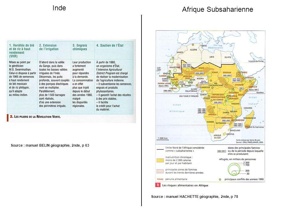 Inde Afrique Subsaharienne Source : manuel BELIN géographie, 2nde, p 63 Source : manuel HACHETTE géographie, 2nde, p 78