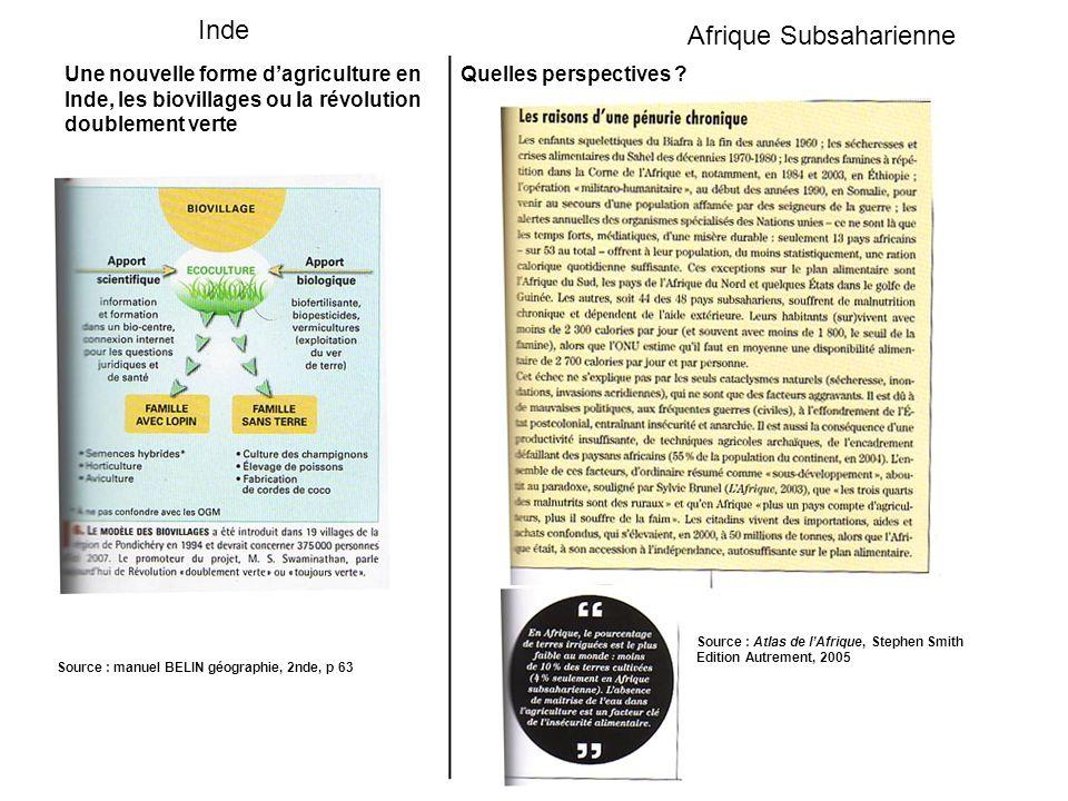 Une nouvelle forme dagriculture en Inde, les biovillages ou la révolution doublement verte Quelles perspectives .