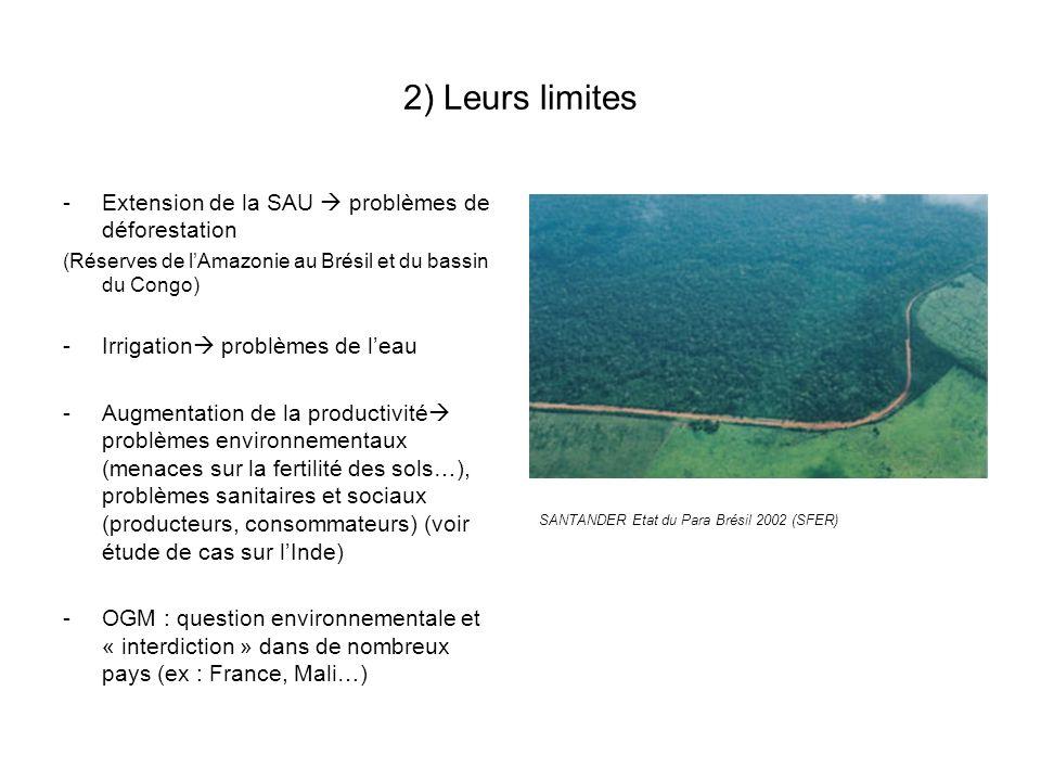 2) Leurs limites -Extension de la SAU problèmes de déforestation (Réserves de lAmazonie au Brésil et du bassin du Congo) -Irrigation problèmes de leau -Augmentation de la productivité problèmes environnementaux (menaces sur la fertilité des sols…), problèmes sanitaires et sociaux (producteurs, consommateurs) (voir étude de cas sur lInde) -OGM : question environnementale et « interdiction » dans de nombreux pays (ex : France, Mali…) SANTANDER Etat du Para Brésil 2002 (SFER)