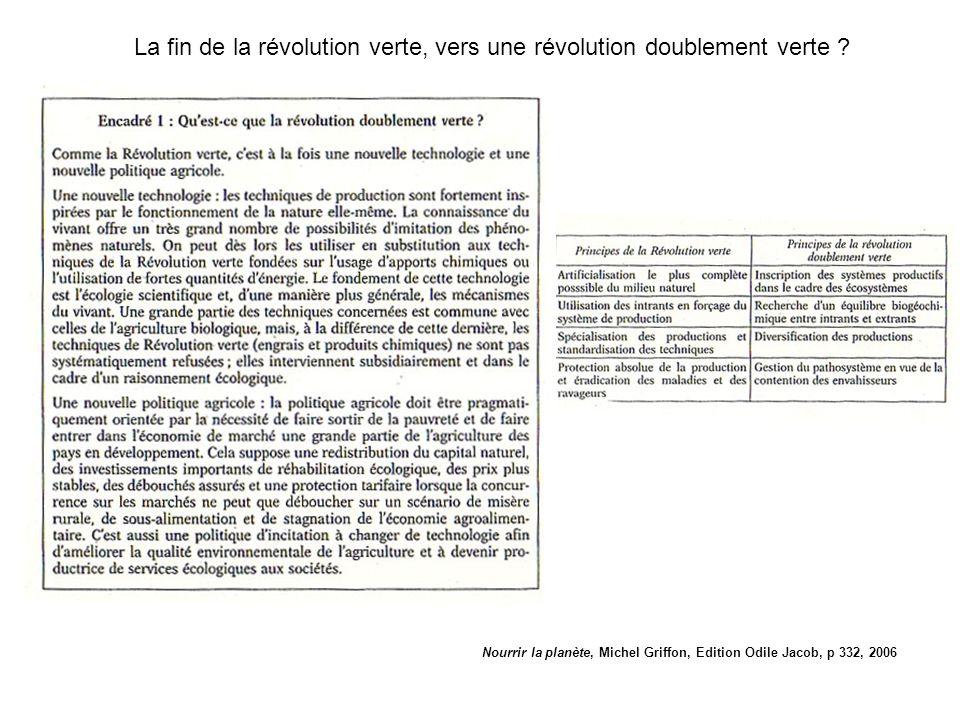 Nourrir la planète, Michel Griffon, Edition Odile Jacob, p 332, 2006 La fin de la révolution verte, vers une révolution doublement verte ?