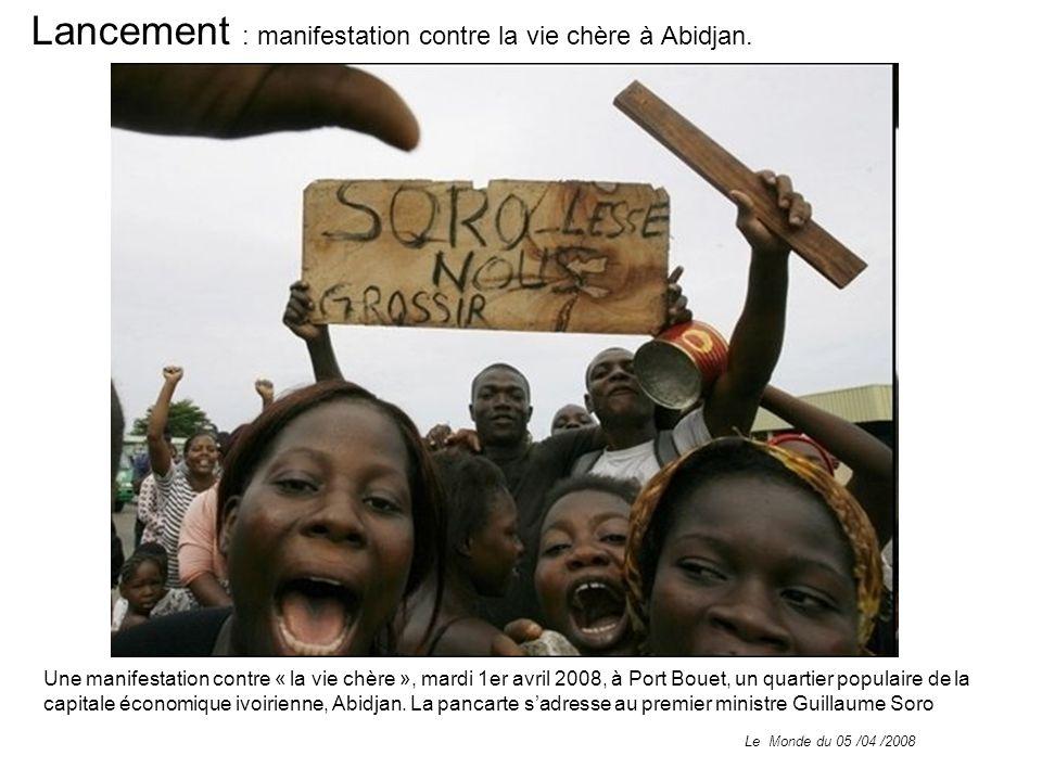 Lancement : manifestation contre la vie chère à Abidjan.
