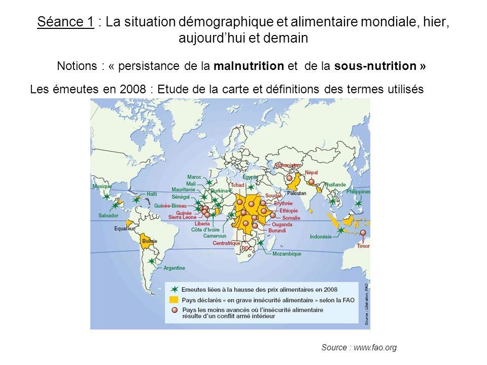 Les désordres alimentaires aujourdhui, causes et zones géographiques concernées Localisation des « grands ensembles » concernés par la faim : quelles sont les régions les plus mal nourries dans le monde .