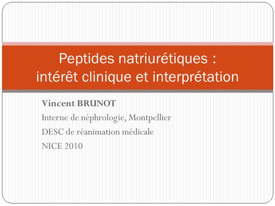 Vincent BRUNOT Interne de néphrologie, Montpellier DESC de réanimation médicale NICE 2010 Peptides natriurétiques : intérêt clinique et interprétation