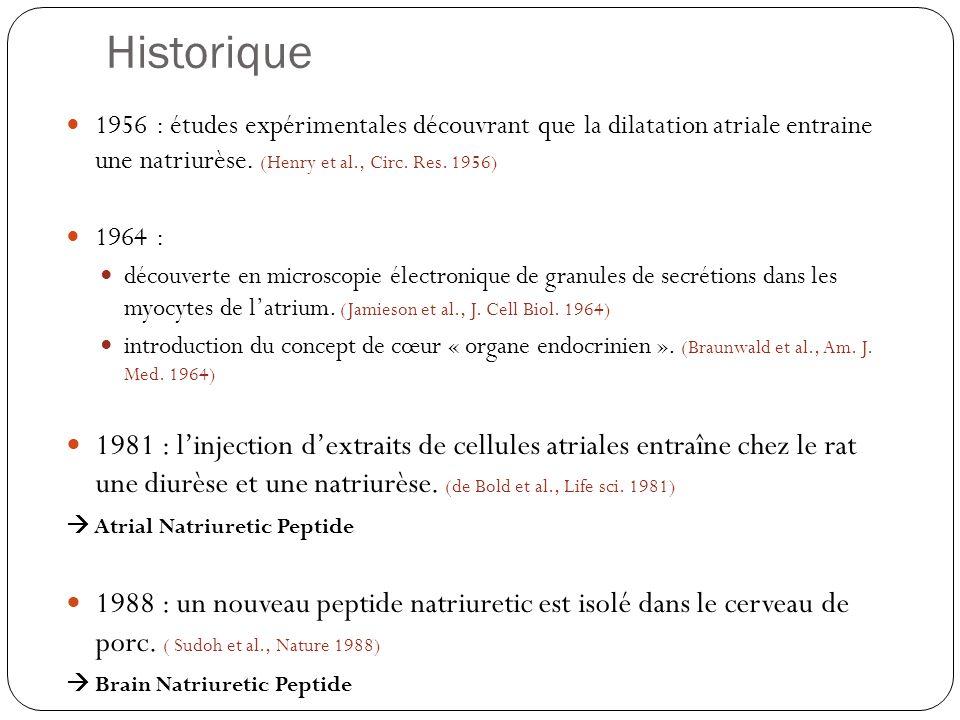 Historique 1956 : études expérimentales découvrant que la dilatation atriale entraine une natriurèse. (Henry et al., Circ. Res. 1956) 1964 : découvert