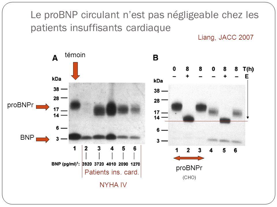 Le proBNP circulant nest pas négligeable chez les patients insuffisants cardiaque témoin proBNPr BNP Patients ins. card. NYHA IV proBNPr (CHO) Liang,