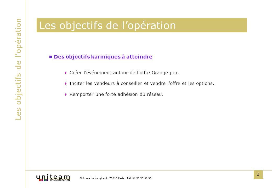 3 Les objectifs de lopération 201, rue de Vaugirard - 75015 Paris - Tél. 01 53 58 36 36 Des objectifs karmiques à atteindre Créer lévénement autour de