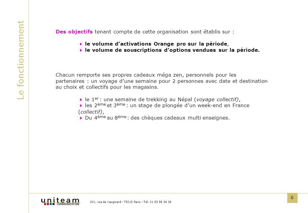 6 Le fonctionnement 201, rue de Vaugirard - 75015 Paris - Tél. 01 53 58 36 36 Des objectifs tenant compte de cette organisation sont établis sur : le