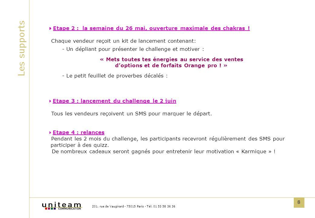 8 Les supports 201, rue de Vaugirard - 75015 Paris - Tél. 01 53 58 36 36 Etape 2 : la semaine du 26 mai, ouverture maximale des chakras ! Chaque vende