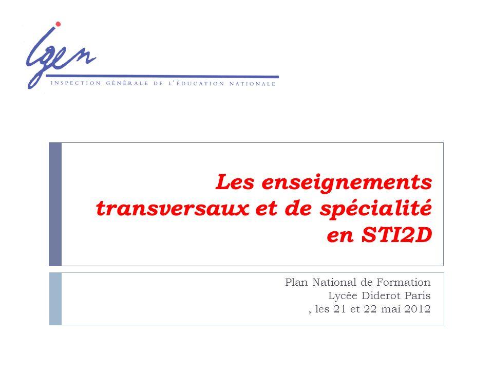 Les enseignements transversaux et de spécialité en STI2D Plan National de Formation Lycée Diderot Paris, les 21 et 22 mai 2012
