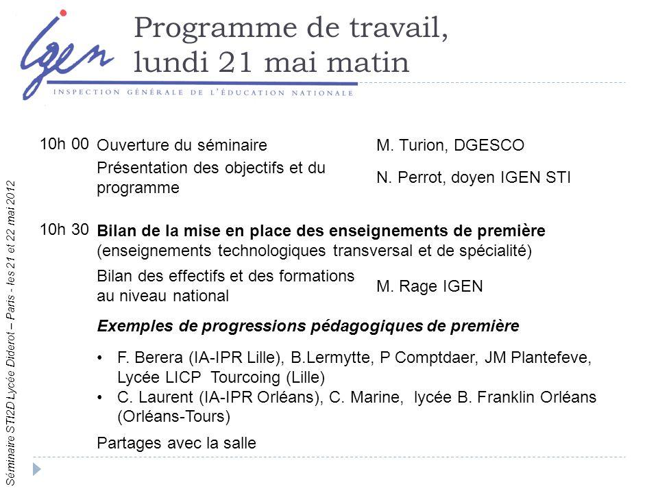 Séminaire STI2D Lycée Diderot – Paris - les 21 et 22 mai 2012 Programme de travail, lundi 21 mai matin 10h 00 Ouverture du séminaireM.
